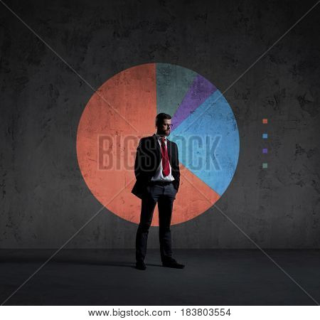 Businessman standing over diagram background. Business, office, career, concept.