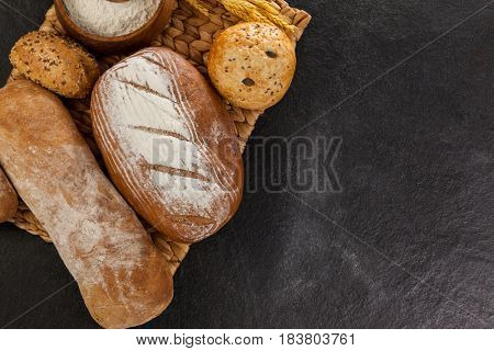Close-up of various bread loaves