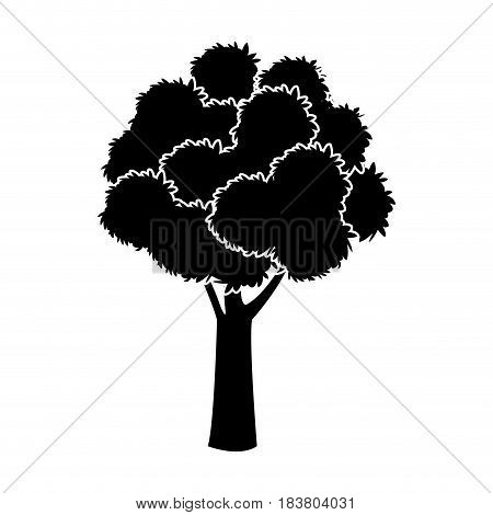 black tree silhouette foliage branch ecology image vector illustration