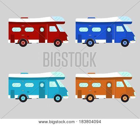 Camper car . Mobile home. Motorhome vector illustration