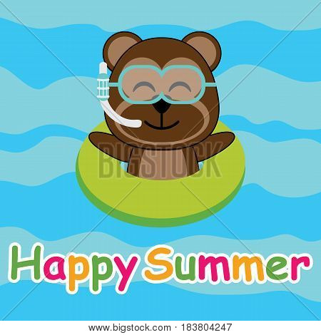 Cute monkey is swiiming with swim ring on the beach vector cartoon, Summer postcard, wallpaper, and greeting card, T-shirt design for kids