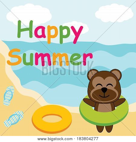 Cute monkey brings swim ring on the beach vector cartoon, Summer postcard, wallpaper, and greeting card, T-shirt design for kids