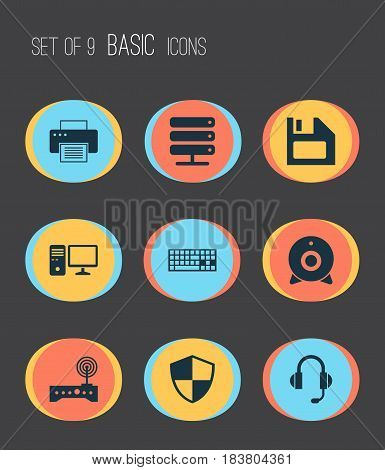 Notebook Icons Set. Collection Of Router, Database, Broadcast And Other Elements. Also Includes Symbols Such As Protection, Headphone, Wifi.