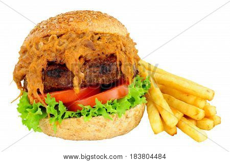Beef burger with slow cooked pulled pork and salad isolated on a white background