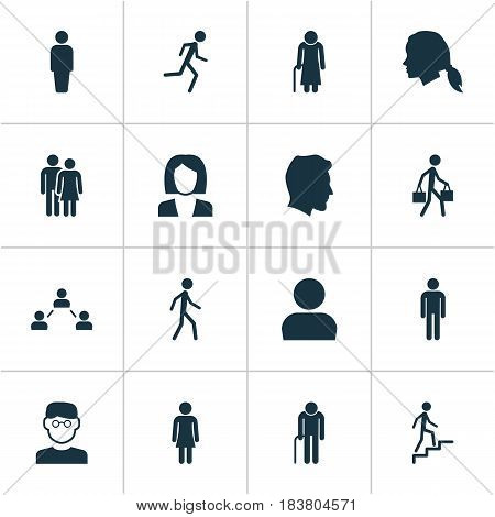 People Icons Set. Collection Of Female, Delivery Person, Jogging And Other Elements. Also Includes Symbols Such As Couple, Woman, Gentlewoman.