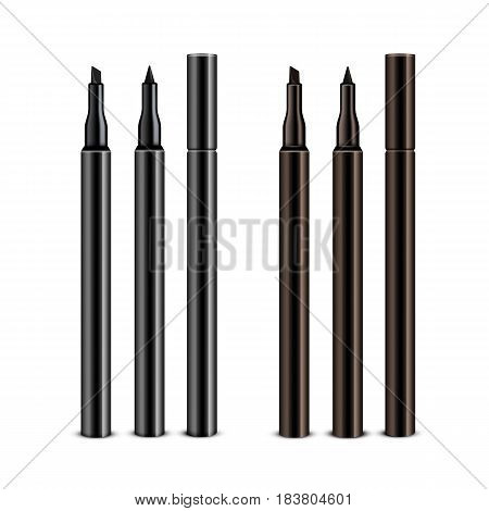 Vector Set of Black Brown Cosmetic Makeup Eyeliner Pencils with without Caps Isolated on White Background