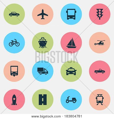 Transportation Icons Set. Collection Of Bicycle, Yacht, Skooter And Other Elements. Also Includes Symbols Such As Auto, Camion, Bicycle.