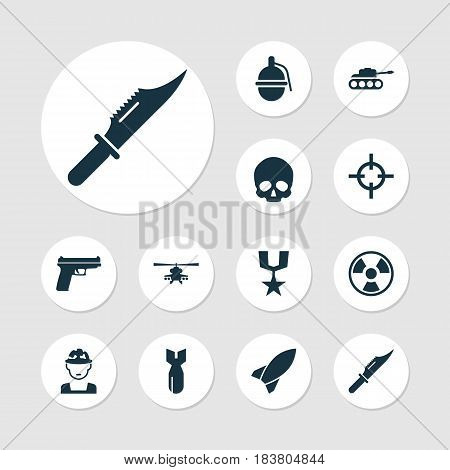 Army Icons Set. Collection Of Bombshell, Cranium, Weapons And Other Elements. Also Includes Symbols Such As Cutter, Soldier, Order.
