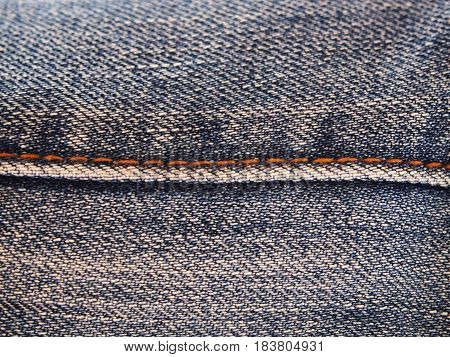 Close up Seam Jeans abstract texture background