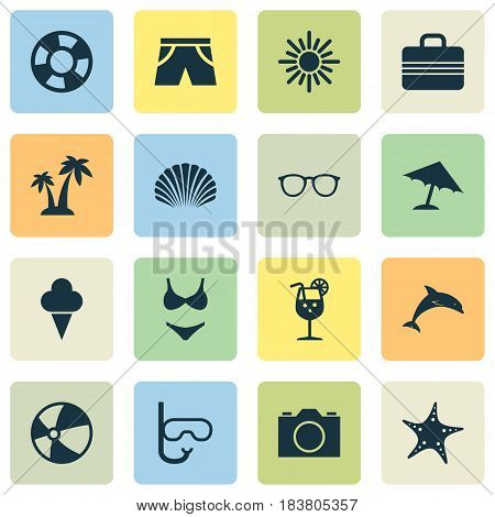 Hot Icons Set. Collection Of Sunny, Video, Bead And Other Elements. Also Includes Symbols Such As Valise, Starfish, Tube.