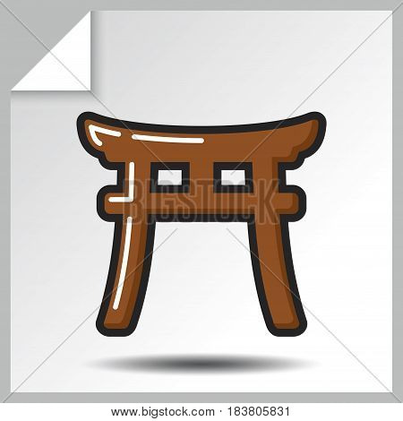 Shinto icon - Torii Gate. Vector Isolated flat colorful illustration.