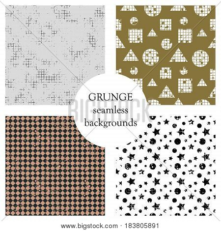 Set Of Seamless Vector Patterns. Geometric Backgrounds With Circles, Starrs, Rhombus. Grunge Texture