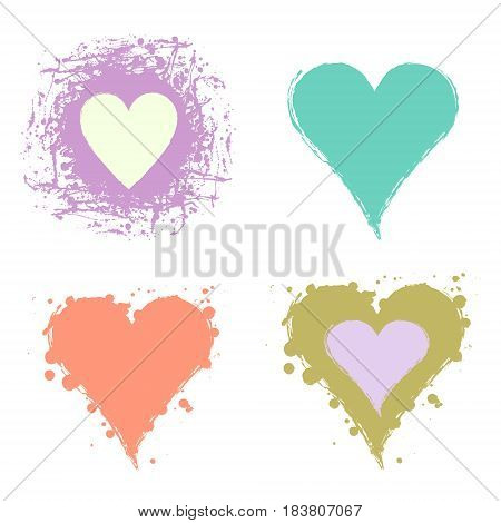 Set of vector graphic grunge illustrations of heart sign with ink blot brush strokes drops isolated on the white background. Series of artistic illustration with splash blots and brush strokes.