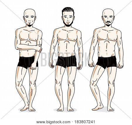 Handsome Men Posing In Black Underwear. Vector People Illustrations Set.