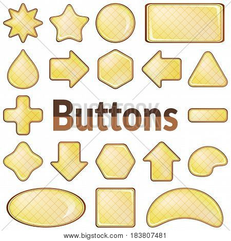 Set of Colorful Yellow Buttons with Brown Frames of Various Shapes, Computer Icons for Your Design. Eps10, Contains Transparencies. Vector