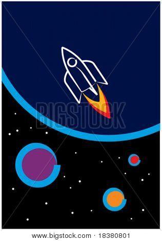 Rakete in den Weltraum
