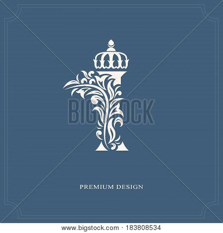 Vector illustration of Elegant letter I with a crown. Graceful royal style. Calligraphic beautiful logo. Vintage drawn emblem for book design brand name business card Restaurant Boutique Hotel.