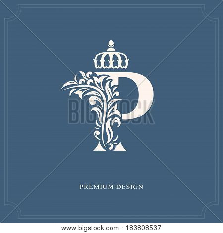 Vector illustration of Elegant letter P with a crown. Graceful royal style. Calligraphic beautiful logo. Vintage drawn emblem for book design brand name business card Restaurant Boutique Hotel.