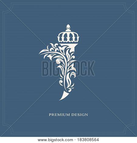 Vector illustration of Elegant letter J with a crown. Graceful royal style. Calligraphic beautiful logo. Vintage drawn emblem for book design brand name business card Restaurant Boutique Hotel.