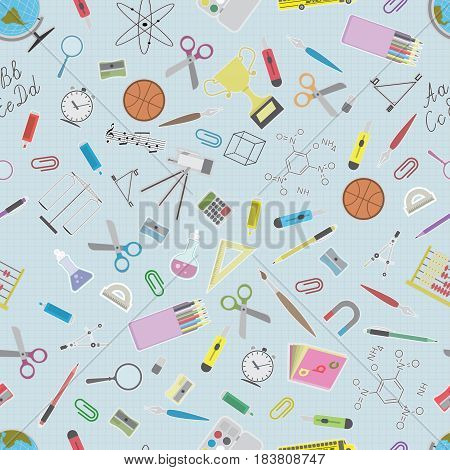 Vector illustration depicting seamless pattern of school accessory