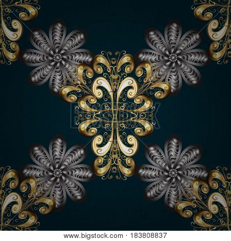 Gold on blue background. Good for greeting card for birthday invitation or banner. Decorative symmetry arabesque. Vector illustration. Pattern medieval floral royal pattern.