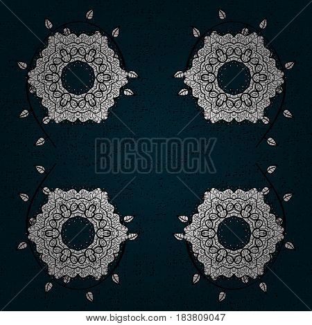 Decorative symmetry arabesque. White on blue and white background. Good for greeting card for birthday invitation or banner. Vector illustration. Medieval floral royal pattern.