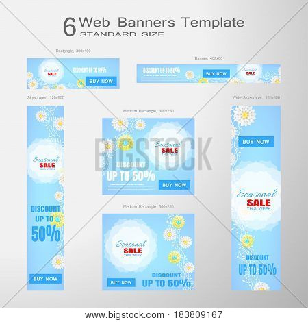 6 Web blue banners of Seasonal Sale vector set of standard size on the gradient gray background.