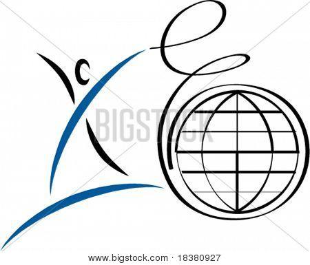 Figure with globe