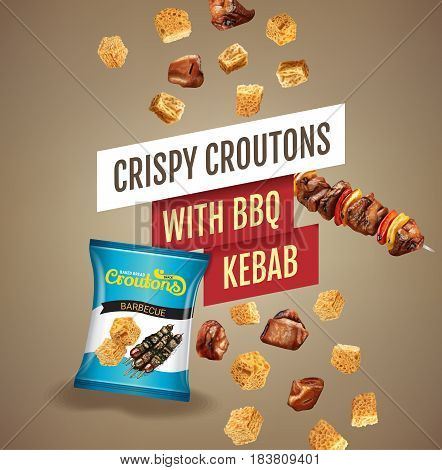 Crispy croutons ads. Vector realistic illustration of croutons with BBQ kebab. Poster with product.