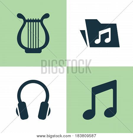 Multimedia Icons Set. Collection Of Earphone, Dossier, Lyre And Other Elements. Also Includes Symbols Such As Earphone, Music, Folder.