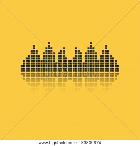 Square sound waveform. Music waves logo for sound studio template for ui musical equipment vst. Vector illustration