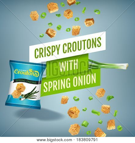 Crispy croutons ads. Vector realistic illustration of croutons with spring onion. Poster with product.