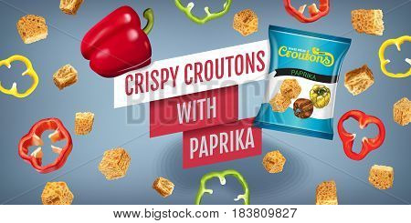Crispy croutons ads. Vector realistic illustration of croutons with paprika. Horisontal banner with product.