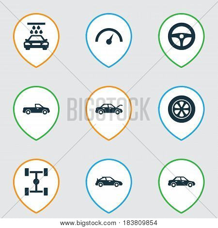 Car Icons Set. Collection Of Wheel, Transport Cleaning, Chronometer And Other Elements. Also Includes Symbols Such As Wheelbase, Sedan, Wheel.