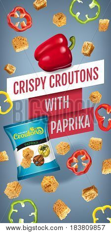 Crispy croutons ads. Vector realistic illustration of croutons with paprika. Vertical banner with product.