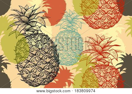 Black blue red and green pineapples. Vector seamless summer pattern. Hand drawing sketch. Illustration - template packing textile paper. Vintage engraving and silhouettes of exotic fruit.