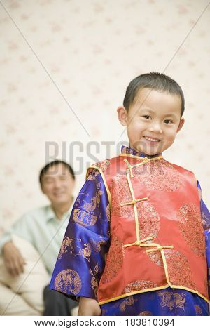 Chinese boy smiling