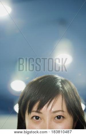 Close up of Chinese woman's face