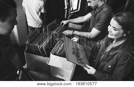 Vinyl Record Store Music Shopping Old school Classic Concept