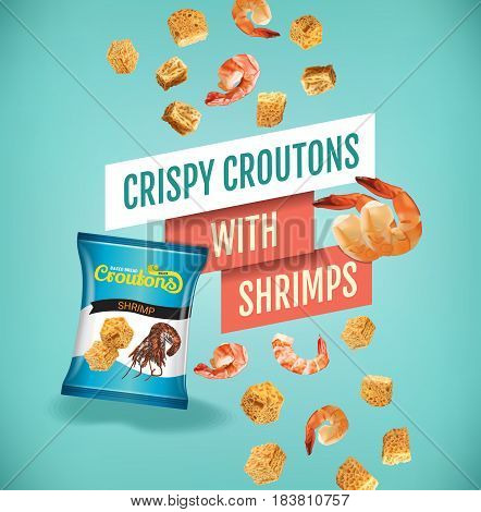 Crispy croutons ads. Vector realistic illustration of croutons with shrimps. Poster with product.
