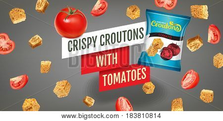 Crispy croutons ads. Vector realistic illustration of croutons with tomato. Horisontal banner with product.