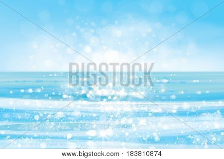 Vector ocean with blue sky and sunshine blurred effect.