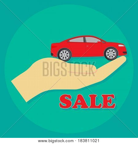 car in hand isolated on background. Vector illustration. Eps 10.