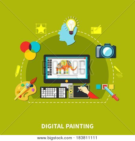 Designer tools composition with attributes and elements of designer for his optimal work vector illustration