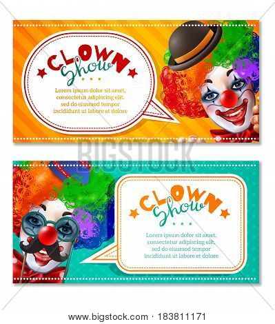 Circus show 2 horizontal advertisement banners with clowns head in bright multi color wig invitation isolated vector illustration