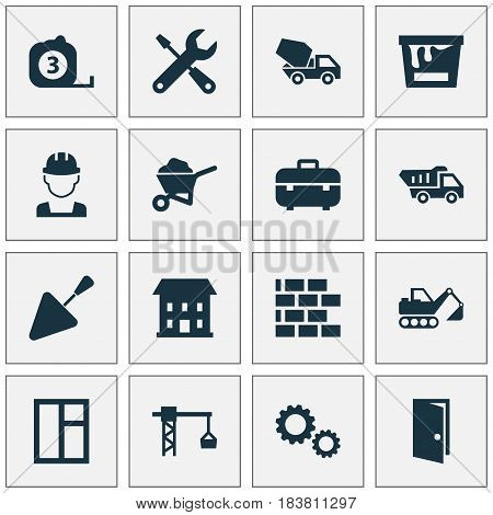 Architecture Icons Set. Collection Of Measure Tool, Engineer, Digger And Other Elements. Also Includes Symbols Such As Measure, Bricklayer, Exit.