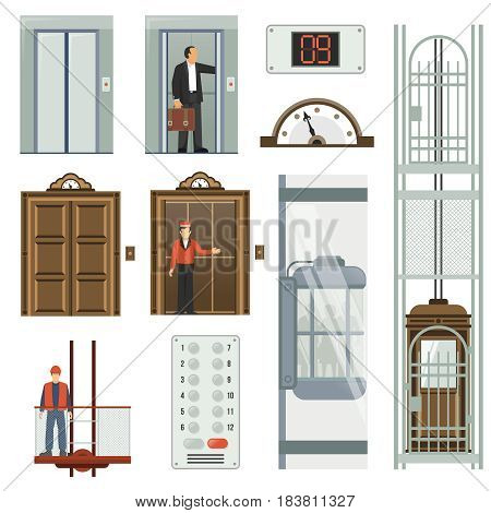 Colored isolated elevator icon set different types of elevators inside the building vector illustration