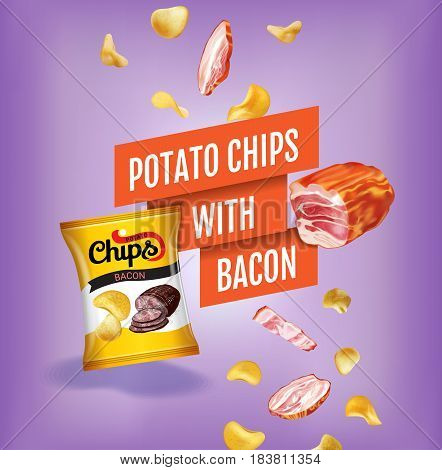 Potato chips ads. Vector realistic illustration with potato chips with bacon. Poster with product.