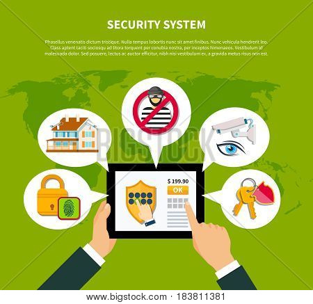 Security concept with financial and home security symbols flat vector illustration