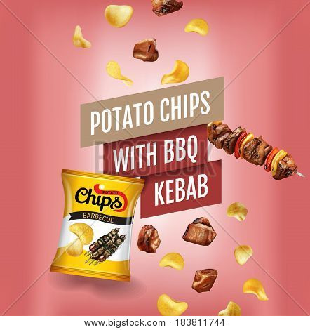 Potato chips ads. Realistic illustration with potato chips with BBQ kebab. Poster with product.